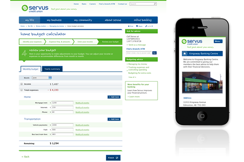 Servus desktop and mobile sites