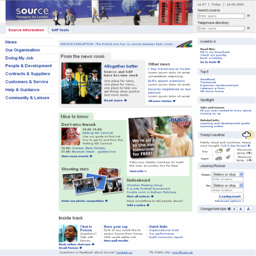 Transport for London's intranet, Source